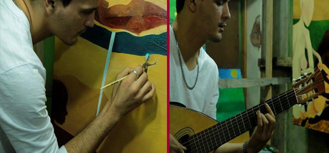 Antônio da Silva leva oficina de arte e integração para alunos de Blumenau