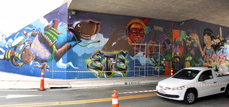 Prolongamento da Humberto de Campos exibe painéis grafitados