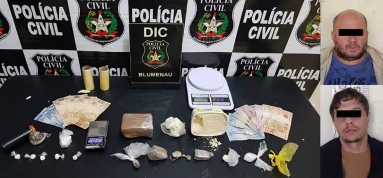 Polícia Civil prende em flagrante traficantes em Blumenau e Pomerode